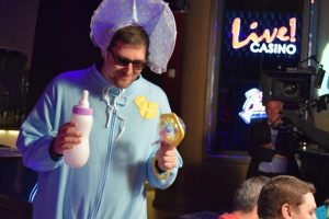"Phil Hellmuth dressed as a giant baby for ""Poker Night in America"" recently."