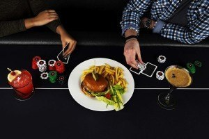 Poker table and with food and chips