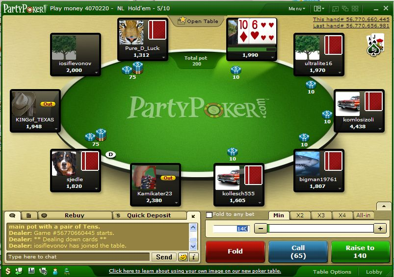party poker casino mobile