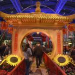 Special Chinese New Year's attractions, like these Bellagio Conservatory gardens, are designed to keep Asian tourists on site throughout the Year of the Rooster festivities. (Image: Sam Morris/Las Vegas News Bureau)