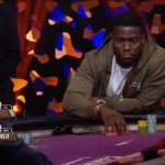 Kevin Hart tried to keep the TV table laughing on Day One of the 2017 Super High Roller Bowl, but might have made Phil Hellmuth cry. (Image: PokerGO app)