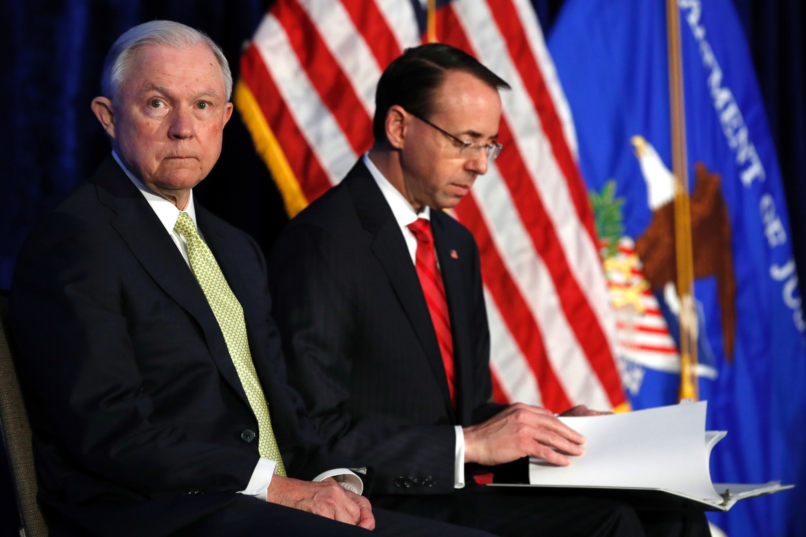 Attorney generals Jeff Sessions and Rod Rosenstein