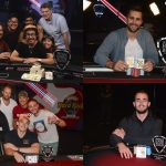 From top clockwise: Martin Kozlov wins SHRPO Championship, John Andress takes down $25K High Roller, Alex Foxen celebrates win in Event #12, and Brian Altman closes out $1,100 NLHE.  (Image: SHRPO)
