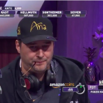Phil Hellmuth found himself in a difficult position at the Poker Masters $100,000 series finale. He made the smart laydown here, but has an uphill climb, going into Day Two as the smallest stack. (Image: PokerGO)