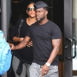 Kevin Hart and pregnant wife Eniko Parris seen in public after news about the comedians shenanigans in Las Vegas exploded on social media. (Image: Us Magazine)