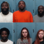 Six individuals, including Jamar Sims (top left), Chazsman Small (top center), and Douglas Sims (top right), were charged in connection to an armed robbery at an October 4 poker game in Abilene, Texas. (Image: fox15abilene.com)