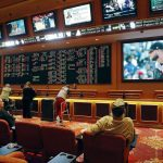 New York may soon has sportsbooks like this one at the South Point Hotel and Casino in Las Vegas, but online poker is further from being a reality in the state. (Image: AP/John Locher)