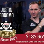 Already a bracelet winner at WSOP 2018, Justin Bonomo is poised for a possible repeat performance and a $10 million payday if he takes first in the Big One for One Drop, which is now down to six players. (Image: WSOP.com)
