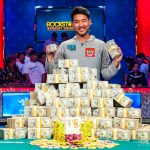After a marathon heads-up session, John Cynn claimed the bracelet and $8.8 million as 2018 WSOP Main Event champion. (Image: WSOP)