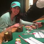 CardsChat forum member Jacki Burkhart, seen here at the WSOP, scooped a $30,000 PokerStars Platinum Pass and now has a chance to win millions. (Image: Twitter)