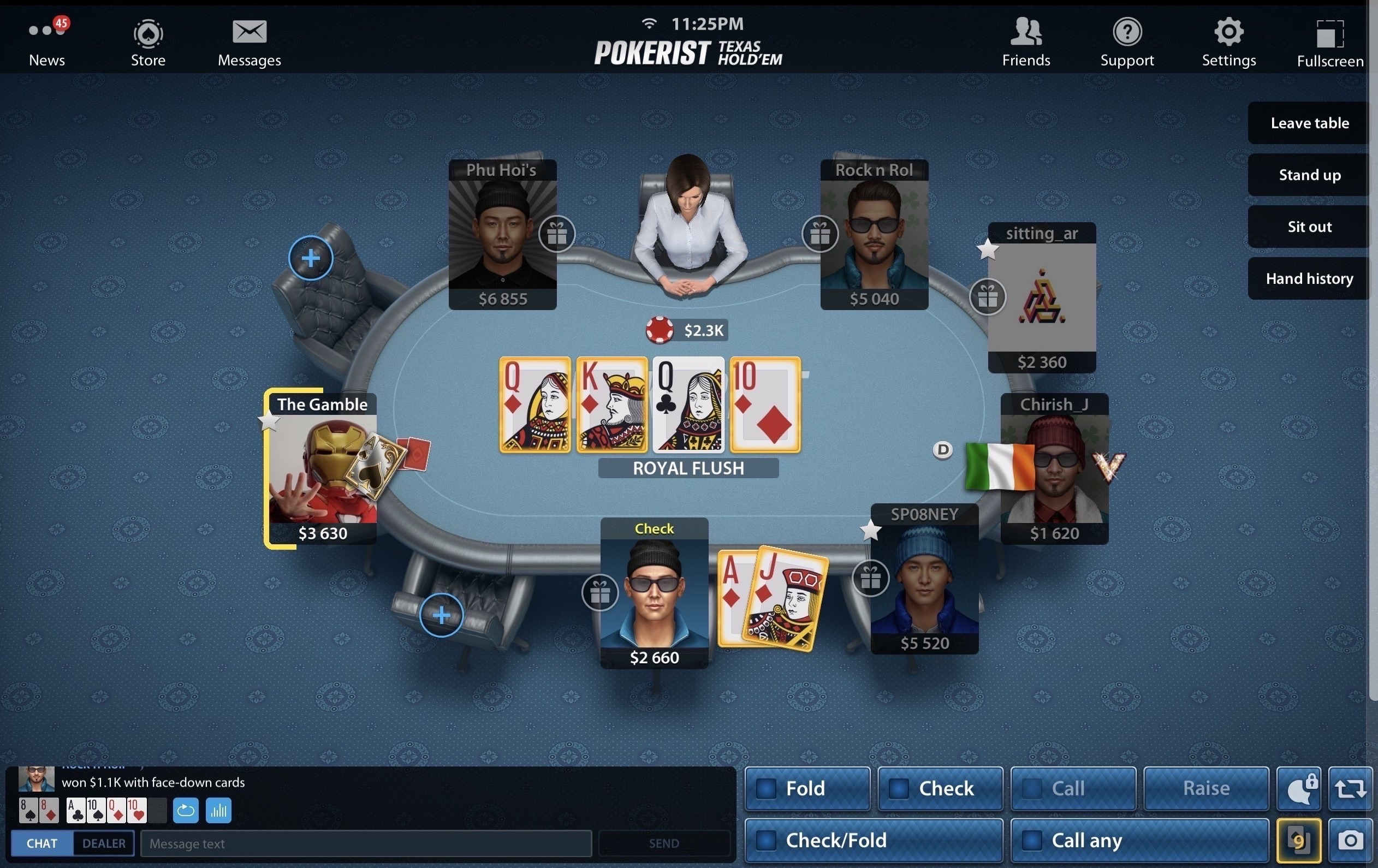 royal flush on pokerist