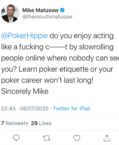 Mike Matusow tweet