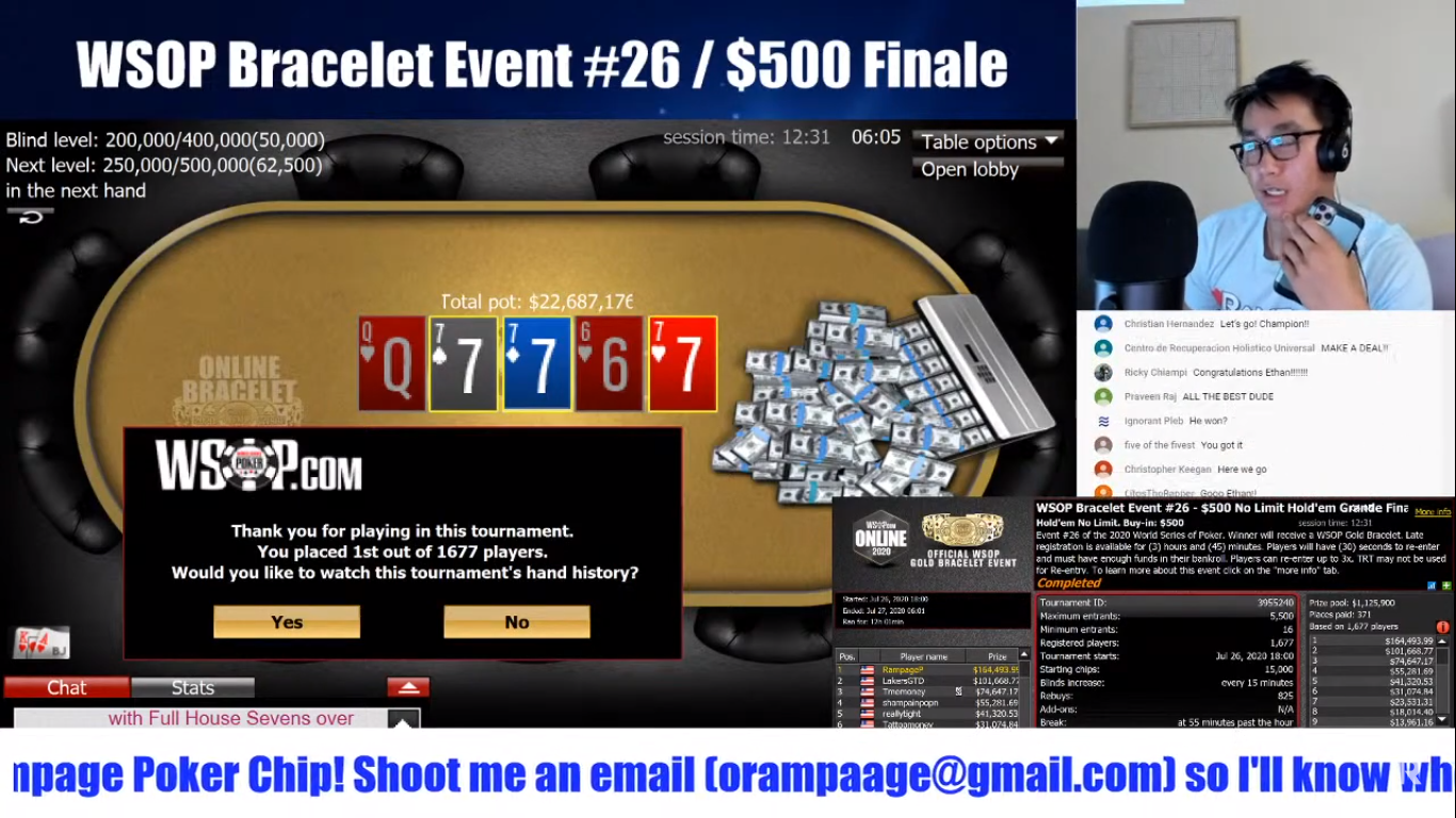 YouTube streamer WSOP poker
