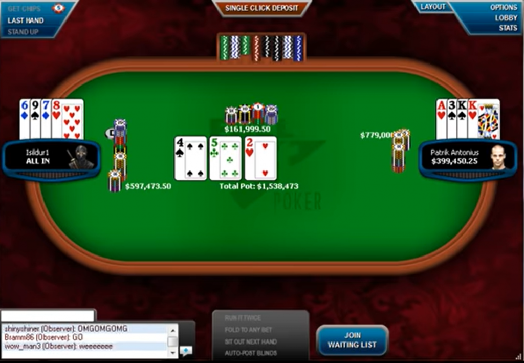 largest pot online poker