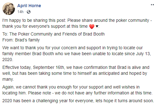 Brad Booth missing poker
