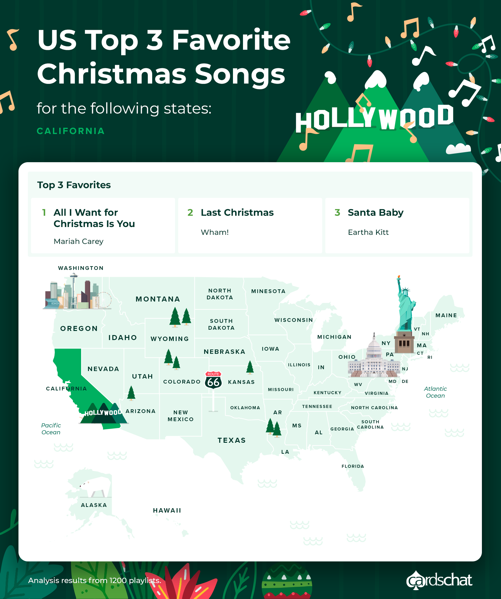 California map favorite christmas songs