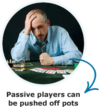 Passive players can be pushed off pots