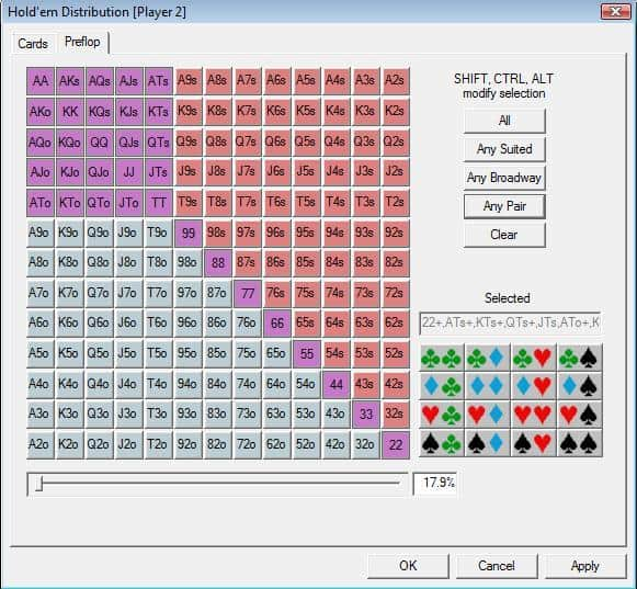 Poker range equity calculator reglas del poker valor de las cartas