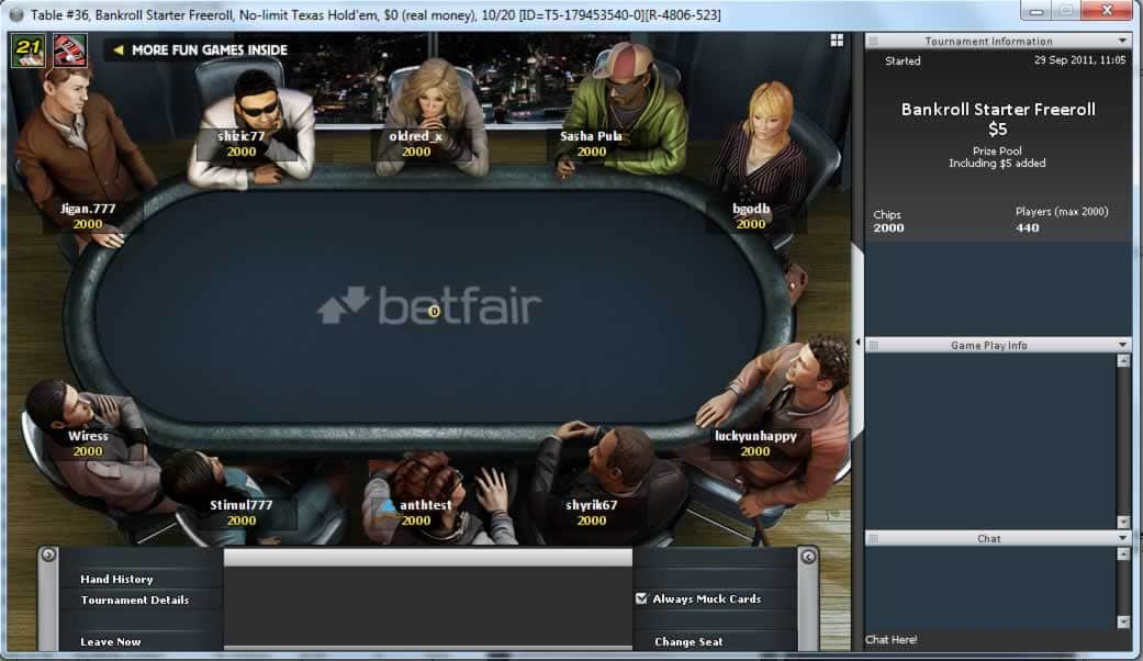 betfair poker tables