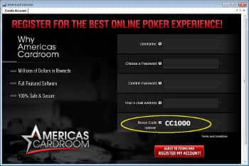 Americas Cardroom Bonus code placement
