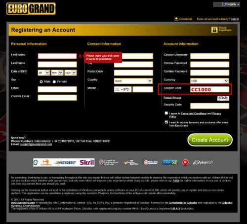 EuroGrand Casino Gutscheincode placement