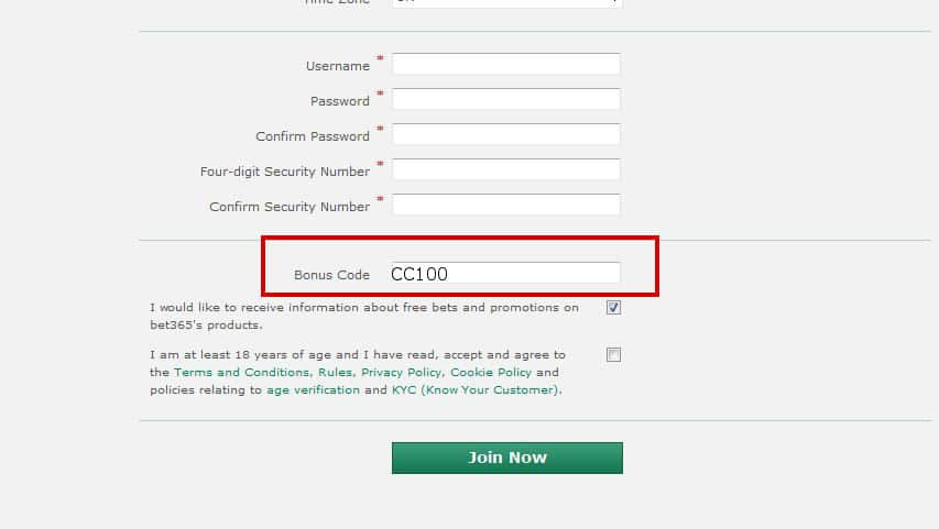 Bet365 Casino Bonus Code placement