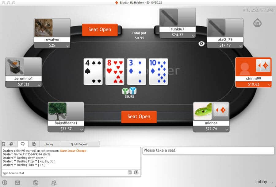 party poker online chat