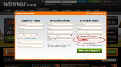 Winner Casino Gutscheincode placement