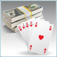 Poker cards and cash