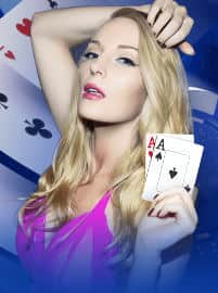 Blonde girl with Aces mobile poker wallpaper